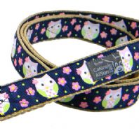 DOG LEAD - CUTE NIGHT OWLS ON NAVY